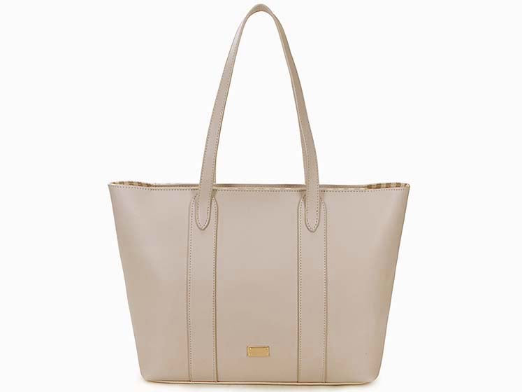 A-SHU LARGE PLAIN PALE BEIGE TOTE HANDBAG WITH STRIPE INTERIOR - A-SHU.CO.UK