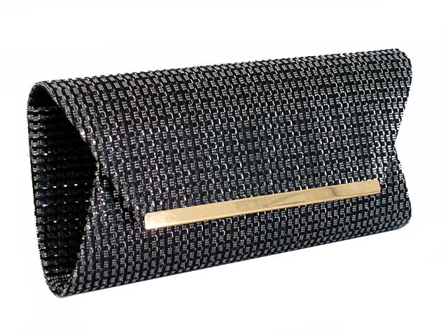 A-SHU LARGE BLACK AND SILVER METALLIC SQUARE ENVELOPE CLUTCH BAG WITH LONG CHAIN STRAP - A-SHU.CO.UK