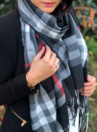 LARGE BLACK CHECK PRINT TARTAN SHAWL SCARF