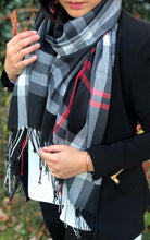A-SHU LARGE BLACK CHECK PRINT TARTAN SHAWL SCARF - A-SHU.CO.UK