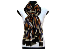 A-SHU LARGE BLACK CONTEMPORARY ZIG ZAG / CHEVRON PRINT PASHMINA SHAWL SCARF - A-SHU.CO.UK