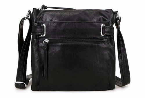 LARGE BLACK MULTI COMPARTMENT CROSS BODY OVER SHOULDER BAG WITH LONG STRAP