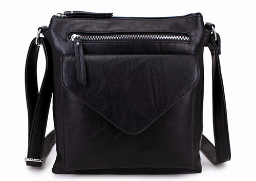 A-SHU LARGE BLACK ENVELOPE DESIGN CROSS BODY BAG WITH LONG STRAP - A-SHU.CO.UK