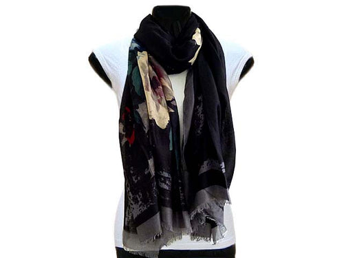 A-SHU LARGE BLACK FLORAL PRINT LIGHTWEIGHT SCARF - A-SHU.CO.UK