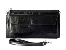 LARGE BLACK GENUINE LEATHER MULTI-COMPARTMENT PURSE / CLUTCH BAG WITH WRIST STRAP