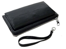 A-SHU LARGE BLACK GENUINE LEATHER MULTI-COMPARTMENT PURSE / CLUTCH BAG WITH WRIST STRAP - A-SHU.CO.UK