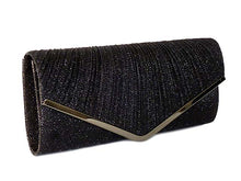 LARGE BLACK METALLIC ENVELOPE CLUTCH BAG WITH LONG CHAIN STRAP
