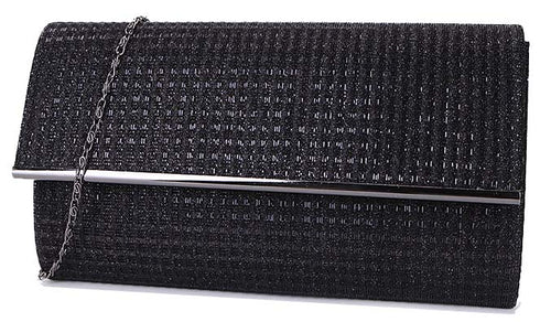 A-SHU LARGE BLACK METALLIC FOLD OVER CLUTCH BAG WITH LONG CHAIN STRAP - A-SHU.CO.UK