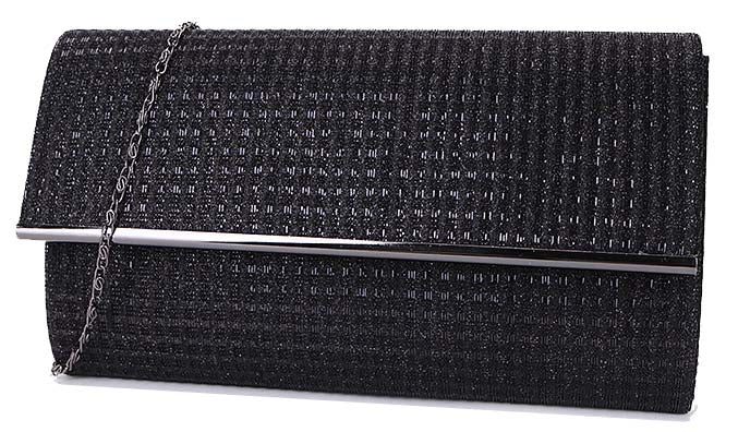 LARGE BLACK METALLIC FOLD OVER CLUTCH BAG WITH LONG CHAIN STRAP