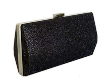 LARGE BLACK METALLIC HARD BACK BOX FRAME CLUTCH BAG WITH LONG CHAIN STRAP