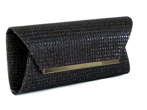 A-SHU LARGE BLACK METALLIC SQUARE ENVELOPE CLUTCH BAG WITH LONG CHAIN STRAP - A-SHU.CO.UK