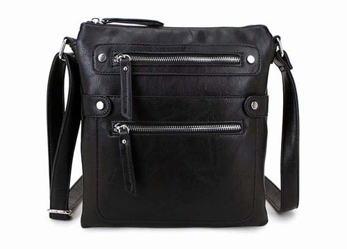 LARGE BLACK MULTI COMPARTMENT CROSSBODY BAG WITH LONG STRAP