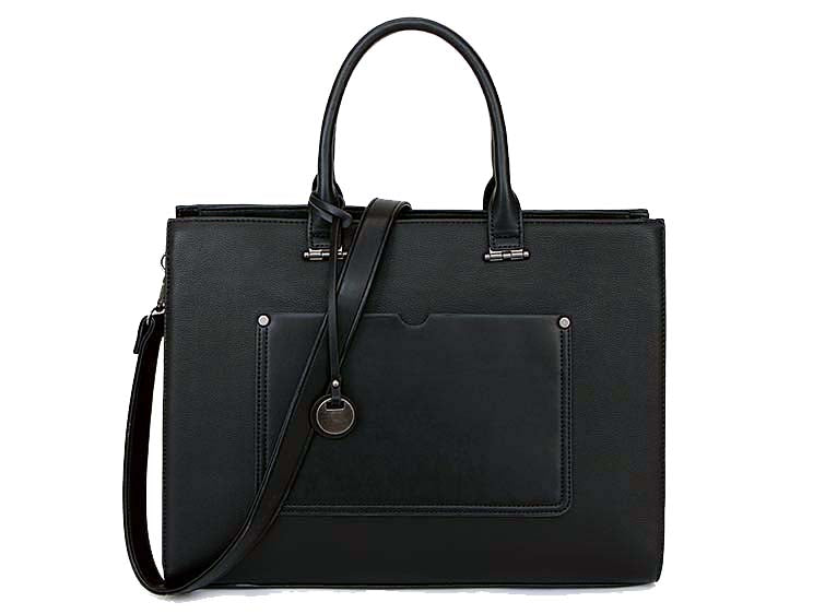 LARGE BLACK MULTI COMPARTMENT OFFICE TOTE HANDBAG WITH LONG SHOULDER STRAP 96f39fa8dae03