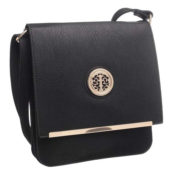 LARGE BLACK MULTI POCKET CROSS BODY MESSENGER BAG