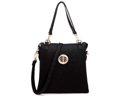 LARGE BLACK MULTI POCKET HANDBAG WITH LONG CROSS BODY STRAP