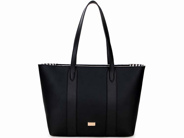 A-SHU LARGE PLAIN BLACK TOTE HANDBAG WITH STRIPE INTERIOR - A-SHU.CO.UK