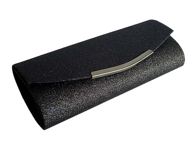 LARGE BLACK SPARKLY METALLIC CLUTCH BAG WITH LONG CHAIN STRAP
