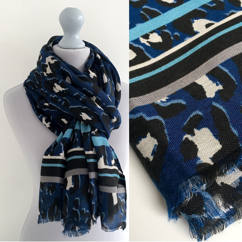 A-SHU LARGE BLUE COTTON MIX STRIPE LEOPARD PRINT SHAWL SCARF - A-SHU.CO.UK
