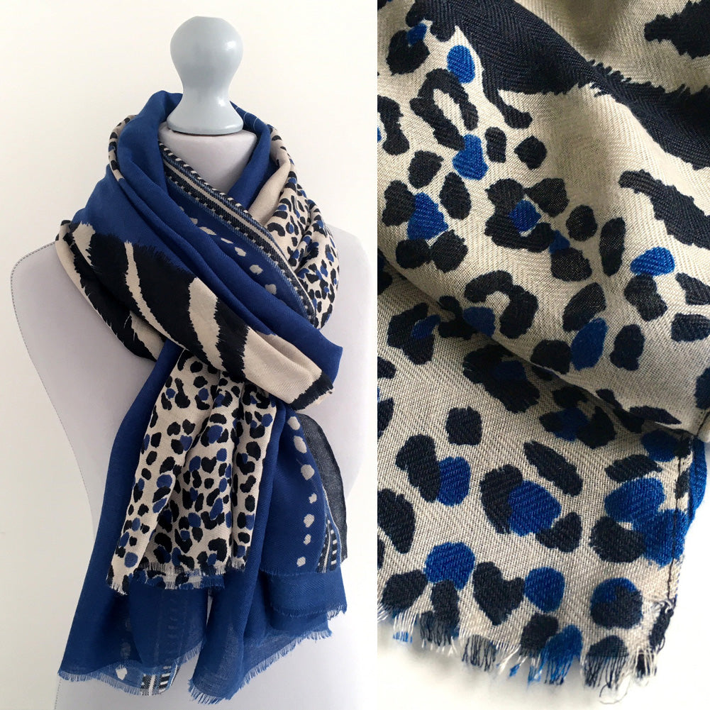 LARGE BLUE COTTON MIX TIGER AND LEOPARD PRINT SHAWL SCARF