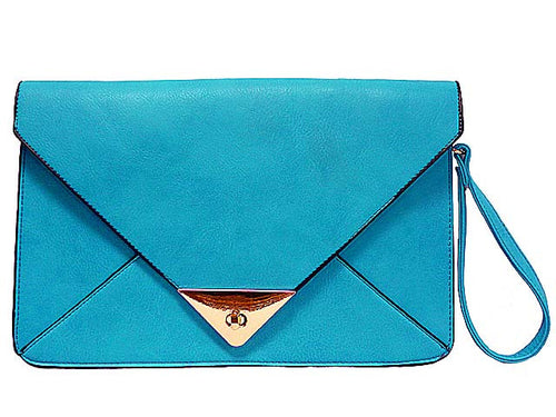 LARGE BLUE ENVELOPE CLUTCH BAG WITH WRIST AND LONG SHOULDER STRAPS