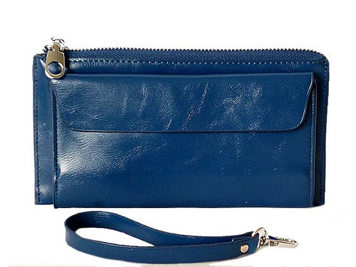 LARGE BLUE GENUINE LEATHER MULTI-COMPARTMENT PURSE / CLUTCH BAG WITH WRIST STRAP