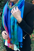 LARGE BLUE RAINBOW FEATHER AND LEAF PRINT PASHMINA SHAWL SCARF