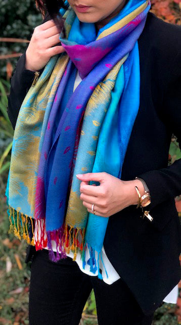 A-SHU LARGE BLUE RAINBOW FEATHER AND LEAF PRINT PASHMINA SHAWL SCARF - A-SHU.CO.UK