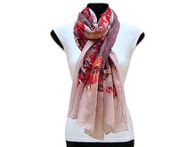 LARGE BLUSH AND BROWN LARGE FLORAL PRINT LIGHTWEIGHT SCARF