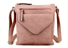 A-SHU LARGE BLUSH PINK ENVELOPE DESIGN CROSS BODY BAG WITH LONG STRAP - A-SHU.CO.UK