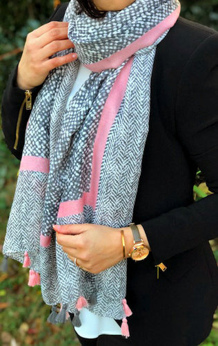 LARGE BLUSH PINK HERRINGBONE TRIBAL PRINT SHAWL SCARF WITH TASSELS