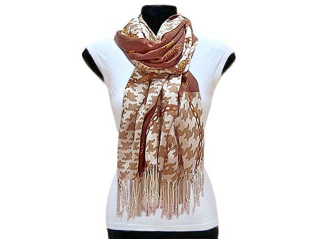 A-SHU LARGE BROWN CHAIN AND DOGTOOTH DESIGN SHAWL SCARF - A-SHU.CO.UK