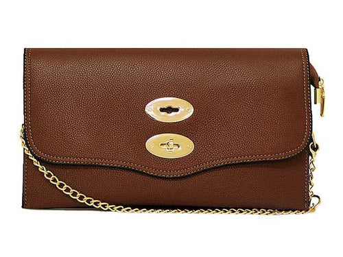 LARGE BROWN DESIGNER STYLE MULTI POCKET CLUTCH BAG WITH CROSSBODY AND WRIST STRAPS
