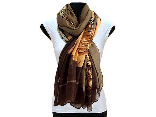 LARGE BROWN FLORAL PRINT PASHMINA SHAWL SCARF
