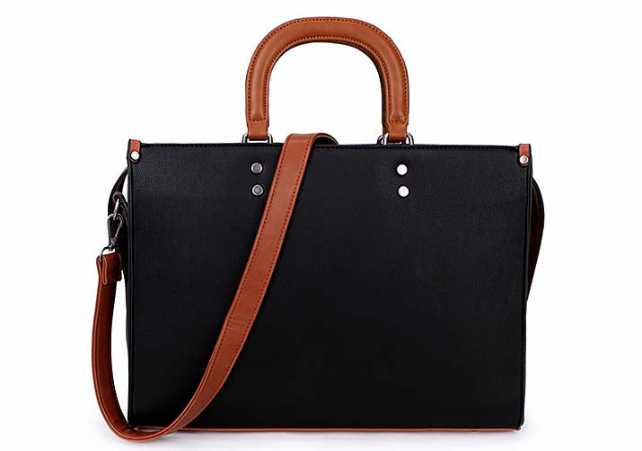 A-SHU LARGE BROWN MULTI COMPARTMENT BRIEFCASE STYLE HANDBAG WITH LONG STRAP - A-SHU.CO.UK