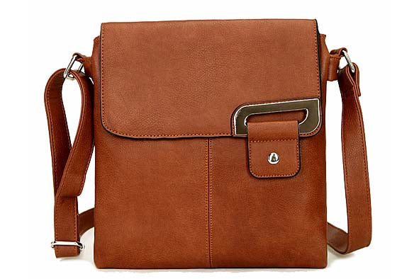 LARGE BROWN MULTI POCKET CROSS BODY MESSENGER BAG