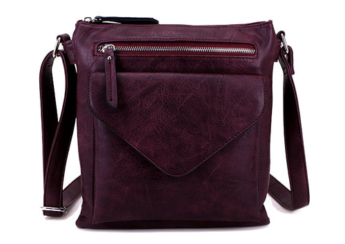 A-SHU LARGE PURPLE ENVELOPE DESIGN CROSS BODY BAG WITH LONG STRAP - A-SHU.CO.UK