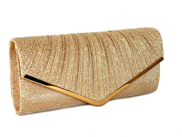 1867b8c7d02 LARGE CHAMPAGNE GOLD METALLIC ENVELOPE CLUTCH BAG WITH LONG CHAIN STRAP