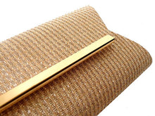 LARGE CHAMPAIGN GOLD METALLIC SQUARE ENVELOPE CLUTCH BAG WITH LONG CHAIN STRAP