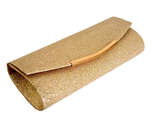 A-SHU LARGE CHAMPAIGN GOLD SPARKLY METALLIC CLUTCH BAG WITH LONG CHAIN STRAP - A-SHU.CO.UK