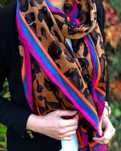 LARGE COTTON MIX BROWN MULTI COLOUR STRIPE LEOPARD PRINT SHAWL SCARF