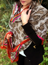 LARGE COTTON MIX TAUPE GREY MULTI COLOUR STRIPE LEOPARD PRINT SHAWL SCARF