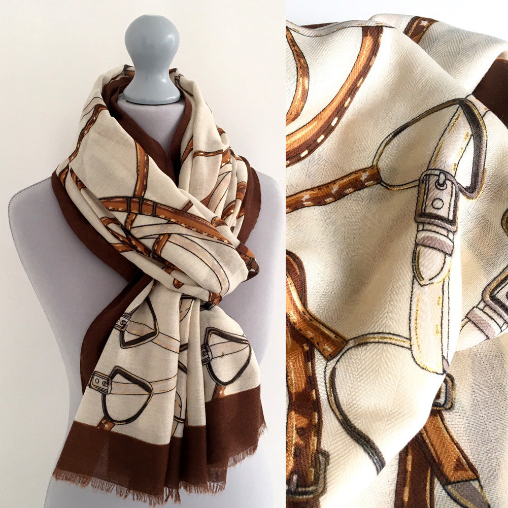 LARGE CREAM CONTEMPORARY BUCKLE PRINT PASHMINA SHAWL SCARF