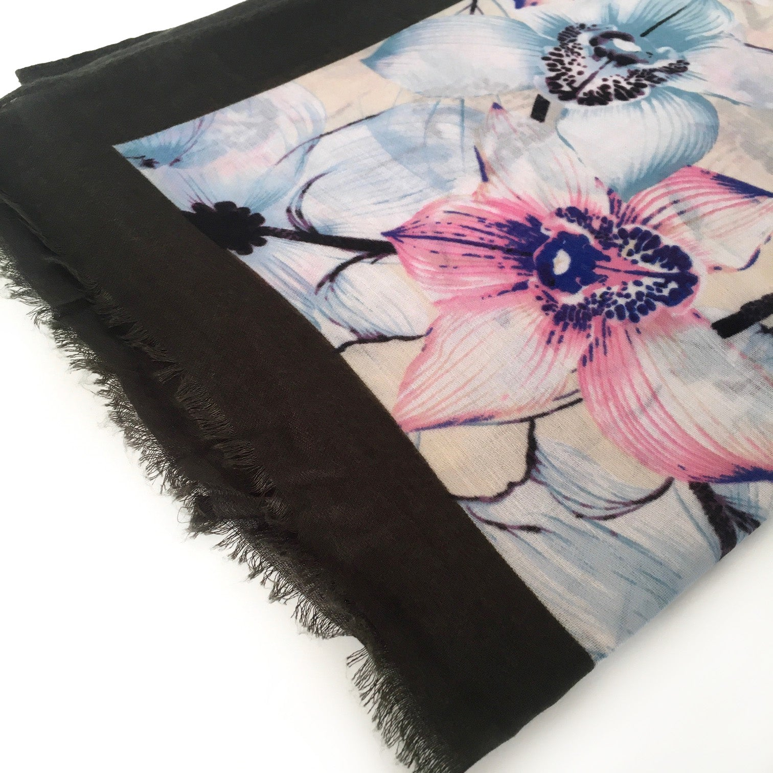 A-SHU LARGE DARK BROWN BORDER FLORAL PRINT SCARF - A-SHU.CO.UK