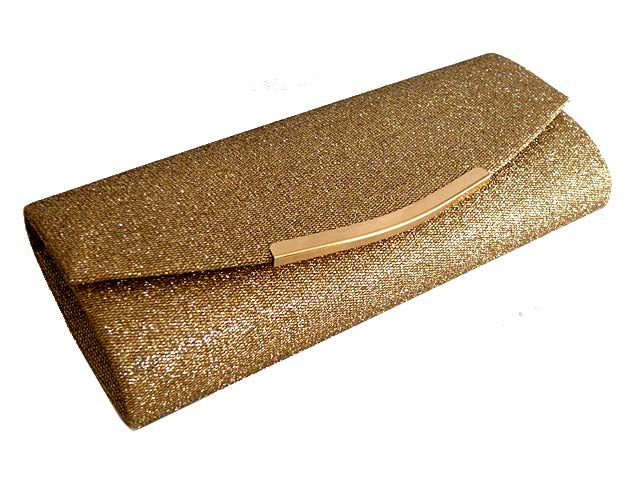 LARGE DARK GOLD SPARKLY METALLIC CLUTCH BAG WITH LONG CHAIN STRAP