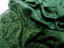 LARGE DARK GREEN LACE DETAIL LIGHTWEIGHT SCARF