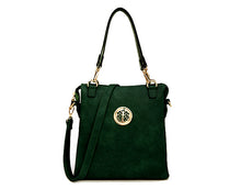 LARGE GREEN MULTI POCKET HANDBAG WITH LONG CROSS BODY STRAP