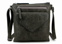 A-SHU LARGE DARK GREY ENVELOPE DESIGN CROSS BODY BAG WITH LONG STRAP - A-SHU.CO.UK