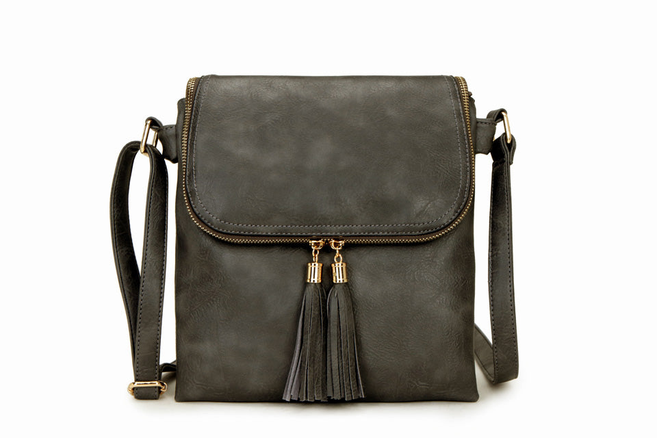 A-SHU LARGE GREY TASSEL MULTI COMPARTMENT CROSS BODY SHOULDER BAG WITH LONG STRAP - A-SHU.CO.UK