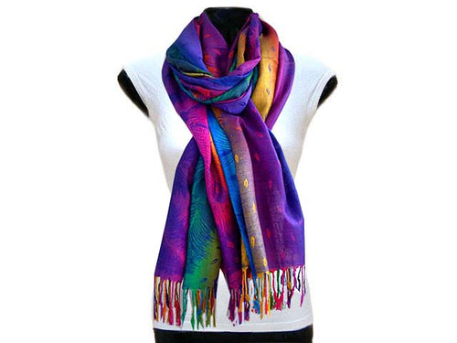 A-SHU LARGE DARK MULTI-COLOUR LEAF PRINT PASHMINA SHAWL SCARF - A-SHU.CO.UK