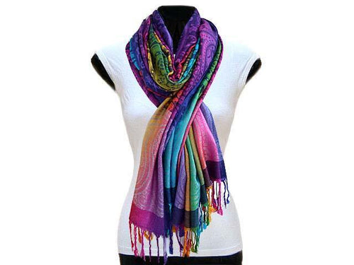 A-SHU LARGE DARK MULTI-COLOUR PAISLEY SWIRL PRINT PASHMINA SHAWL SCARF - A-SHU.CO.UK